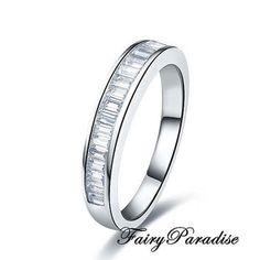 Total 1 ct Emerald cut lab made diamonds Channel-set Half Eternity Wedding Band / Anniversary Ring - made to order ( FairyParadise ) #WeddingBands #StackableRings #AnniversaryRing #EtsyLove #EtsySeller #EmeraldCut #HalfEternity