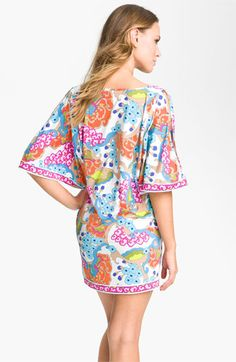 Trina Turk 'Cherry Blossoms' Cold Shoulder Tunic Cover-Up | Nordstrom