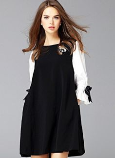 Cotton Polyester Color Block 3/4 Sleeves Above Knee Casual Dresses