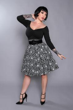Pin Up Girl Clothing Com Pinup Couture Cherie Dress In Black Blue And Purple  Pinup Girl