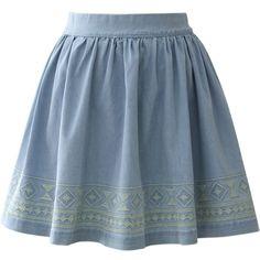 Chicwish Aztec Stitch Denim Skater Skirt in Light Blue (69 BRL) ❤ liked on Polyvore featuring skirts, bottoms, denim skirts, saia, blue, circle skirt, light blue skirt, skater skirt, flared denim skirt and flared skirt