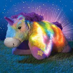 """Unicorn Glow Pillow Pets Lights Up Sparkling Stuffed Animal Jumbo 18"""" Large #PillowPets"""