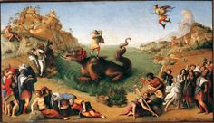 Perseus Freeing Andromeda or Liberation of is a painting by the Italian Renaissance painter Piero di Cosimo, c. executed in 1510 or It is housed in the Uffizi Gallery of Florence, Italy. Renaissance Kunst, Renaissance Artists, Italian Renaissance, Galerie Des Offices, Silhouette Artist, Infinite Art, National Gallery Of Art, Hieronymus Bosch, Albrecht Durer