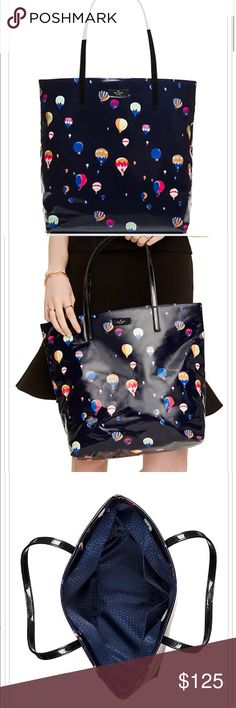 """Kate Spade Daycation Bon Shopper Balloon Tote Authentic Kate Spade Daycation Bon Shopper Hot Air Balloon Tote/Purse, Shoulder Bag With Open Top, 13.5""""(H) x 12.3""""(W) x 5.2""""(D), Strap Drop 8.3"""", Dual Interior Slide Pockets, Navy With Colorful Hot Air Balloons kate spade Bags Totes"""