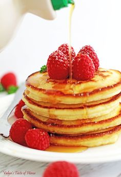 These flavorful golden pancakes are thick, fluffy and filling. With crispy edges, organic maple syrup poured over the soft middle, and berries to top it off, would make you marvel at the taste! You will be licking your plate like my kids do. You have to try them to know what I mean!