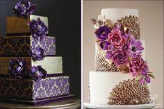 Ornate Purple & Gold Wedding Cakes