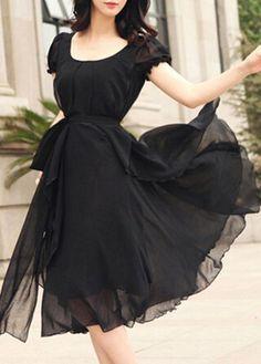 Black Round Neck High Waist Chiffon Dress on sale only US$23.44 now, buy cheap Black Round Neck High Waist Chiffon Dress at lulugal.com