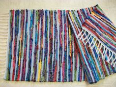 long bright color crayon blue multicolored loom woven  rag rug  runner South Dakota made on Etsy, $62.00