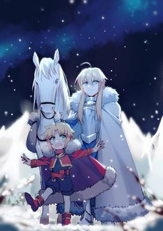 Young Mordred and her Father: http://www.pixiv.net/member_illust.php?mode=medium&illust_id=66923656