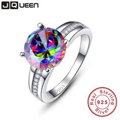 Aliexpress.com : Buy Brand Jewelry 6.3Ct Striking Rainbow Fire Mystic Topaz Ring For Lady Birthday Gift 925 Solid Sterling Silver Size 6 7 8 9 from Reliable jewelry rings cheap suppliers on JQUEEN 925 Silver Jewelry Store