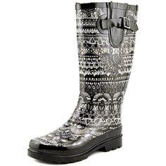 Sakroots Ladies' Faux Fur Lined Rainboot-Black/White, 8 >>> Visit the image link more details.