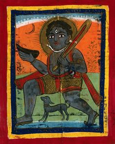 Page 132: Shiva with his symbols and dog. Gouache drawing