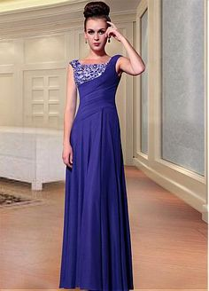 #Dressilyme Exquisite A-line Pleated Blue Formal Dress