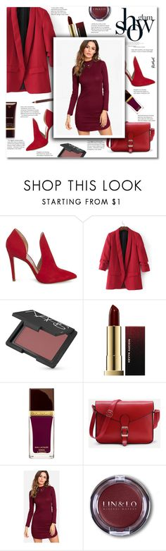 """""""Shades of red"""" by smajlovicelvira ❤ liked on Polyvore featuring Steve Madden, NARS Cosmetics, Rene, Kevyn Aucoin, Tom Ford, outfit, red, romwe, womanfashion and spring2018"""