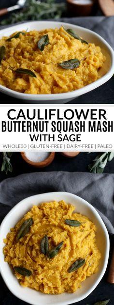 Cauliflower Butternut Squash Mash with Sage | butternut squash recipes | easy butternut squash recipe | whole30 side dish | gluten-free side dish | dairy-free side dish | paleo side dish || The Real Food Dietitians #whole30recipes #whole30sides #glutenfreesides #paleorecipe