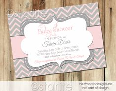 Chevron  Pink and Gray Grey  Baby Shower Invitation  by starwedd, $16.00