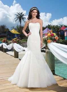 Sincerity wedding dress style 3776 Curvaceous Crooked Island - Beaded lace mermaid features a soft sweetheart neckline with a tulle and organza skirt. Gown is finished with a chapel length train and satin buttons over the back zipper.