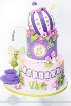 Fairy Tea Party Cake/ Sissy's possible Birthday cake! Fancy Cakes, Cute Cakes, Awesome Cakes, Pirate Fairy Cake, Tea Party Birthday, Birthday Cakes, Birthday Ideas, 2nd Birthday, Teapot Cake