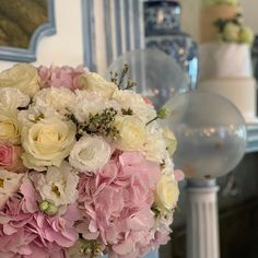 """Stationery & Floral Design on Instagram: """"Wonderful decoration for a genderreveal. Tag your friends who would love this. - - - #flowers #hydrangea #lisianthus #roses #luzern…"""" Hydrangea, Floral Design, Floral Wreath, Stationery, Roses, Baby Shower, Wreaths, Table Decorations, Friends"""
