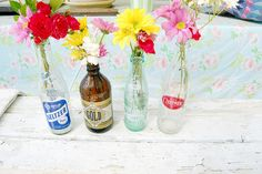 Bottles and Flowers! Cheap & Easy = <3