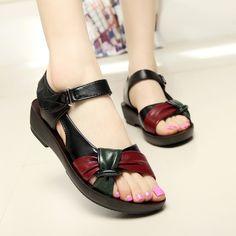 2017 zapatos de verano sandalias planas de las mujeres planas de cuero envejecido con colores mezclados sandalias de la manera zapatos cómodos viejos 6126 W