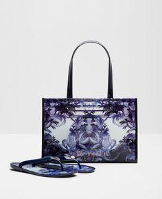 Persian Blue Flip Flop And Per Bag Set