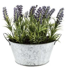 """Reap all of the benefits of greenery and floral arrangements - without the hassle of watering! Lavender Arrangement in Galvanized Tin features a realistic synthetic lavender arrangement housed in foam in a galvanized tin with thin handles. This arrangement will establish elegance in any room of your beautiful home! Dimensions: Base Width: 5 3/8"""" Flower Width: 10"""" Height: 9"""""""