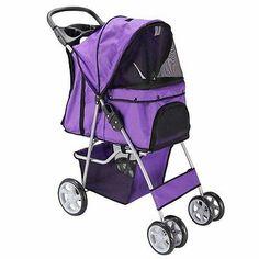 OxGord Pet Stroller Cat Dog 4 Wheeler Stroller Travel Folding Carrier Purple