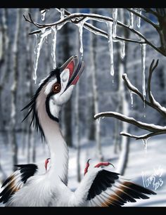 morning thawby DeEtta Digital Art / Drawings & Paintings / Animals©2013-2014 DeEtta Lil polar Troodon getting some fresh water to start the day =]