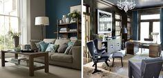 Salón decorado en una combinación de azul y marrón - http://www.decoora.com/salon-decorado-tonos-azules-marrones/