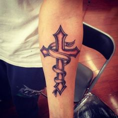 Forearm Cross Tattoo for Men - I would have it be a teal ribbon for PKD