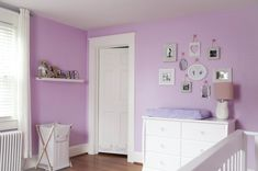 Love the serene paint color in this #purple #nursery