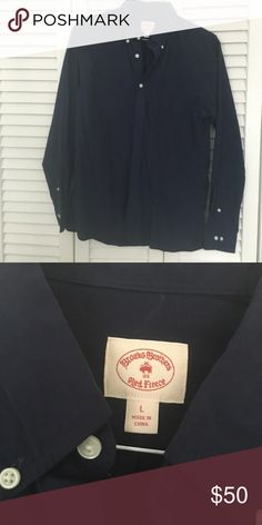 Brooks Brothers button down new without tags Brooks Brothers  MENS Never Worn long sleeve dress shirt.  Color Navy.  Size L Brooks Brothers Shirts Dress Shirts
