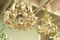 Chandeliers - in Italian Tole with procelain roses