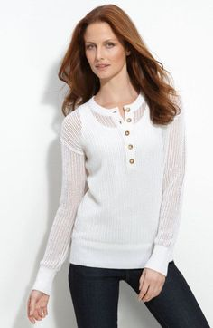 MICHAEL Michael Kors1 Mesh-Knit Henley Sweater Top White S New #MichaelKors #Crewneck