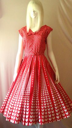 50's cherry red vintage sweep dress by resurrectedvintage on Etsy, $325.00