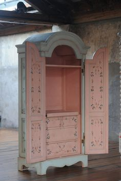 Gorgeous pink and blue chalk paint armoire