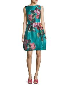 d2db87a65b97 High-Neck Sleeveless Floral-Print Cocktail Dress Resort Wear For Women