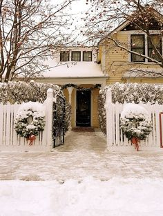 A snowy festive home