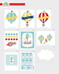 This listing is for a CUSTOM PRINTABLE (DIY) party package. You will be emailed high resolution files to your email address. Nothing physical is mailed to you. MATCHING INVITATION can be found here. https://www.etsy.com/listing/226034058/hot-air-balloon-invitation-hot-air MATCHING