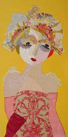 Katherine Roumanoff.  French Artist who makes wonderfully evocative faces from carefully cut textiles.