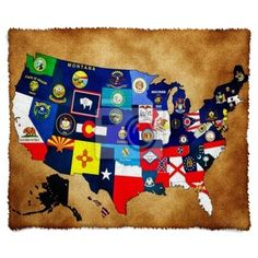 Map Of Usa With State Flags Furry Fleece Blanket 50x60 At Http Www