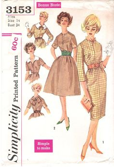Simplicity 3153 UNCUT 1950s Mad Men Wiggle Dress with Two