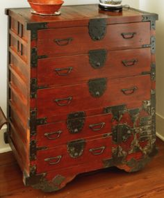 High Quality A JAPANESE IRON MOUNTED STAINED ASIAN SOFTWOOD TANSU Late Meiji Period,  Circa 1890