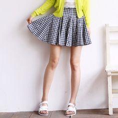 Check flared skirt