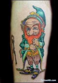 Little Irish Gnome looking leprechaun - - #talesofthetatt #tattoo  #Irish #StPatricksDay- www.talesofthetatt.com