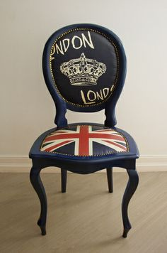London Love and British Union Jack flag chair