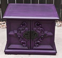 Brilliant Purple Home Decor Ideas Picture 14 - Awesome Indoor & Outdoor Purple Home, Deep Purple, Purple Gray, Bright Purple, Shabby Chic Furniture, Painted Furniture, Painted Hutch, Rustic Furniture, Vintage Furniture