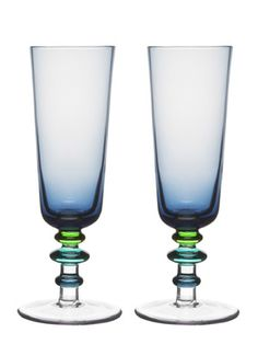 Talk about a personalized touch—these mouth-blown glasses were made by hand and the light blue hue is perfect for those special occasion toasts. Spectrum Glass, Great Wedding Gifts, Mason Jar Wine Glass, Champagne Glasses, Dot And Bo, Hurricane Glass, Bars For Home, Decorative Accessories, Accent Decor