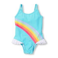 Baby And Toddler Girls Spaghetti Strap Rainbow Graphic Ruffle One-Piece Swimsuit Baby Outfits, Toddler Girl Outfits, Toddler Fashion, Toddler Girls, Kids Fashion, Baby Girls, Unicorn Swimsuit, Rainbow Swimsuit, Baby Girl Swimsuit